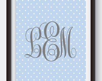 Blue & Gray Polka Dot Monogram. Digital Print. Monogram Print. Custom Nursery Art. Blue Nursery Decor. Polka Dot Baby Shower. Baby Gift Idea