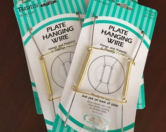Plate Hangers / Displays Plates on Wall ~ Vintage Lot of 4 Wire Plate Hangers ~ New Old Stock