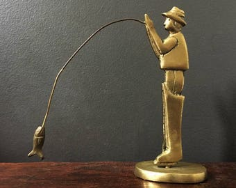 Fisherman in Brass / Small Vintage Fly Fishing Statue