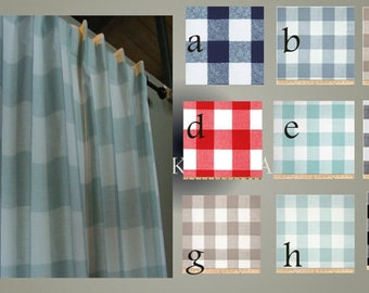 Drapery Window Curtain Panels Buffalo Check Plaid Pair Fully Lined  with options