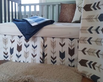 Navy Brown Baby Bedding Crib Set  Woodland Buffalo Check Arrows White Brown Navy Set Three Piece