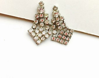 Vintage Screw On Earrings, Clear Rhinestones, Silver Tone, Pre Holiday SALE, Item No. B277