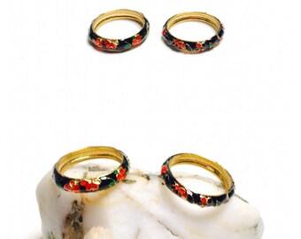 Cloisonne Ring, Multicolor Enamel, Floral Design, Stackable, Clearance SALE, Item No. B644