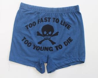 """Punk Boxer Shorts- Underwear-Too Fast To Live - Too Young to Die- Mens -Skull Crossbones-Pants -Novelty -S Waist 26"""" Seditionaries"""