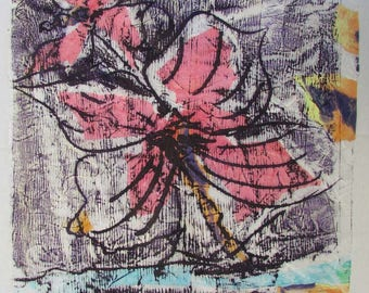 Watercolor Alcohol Ink Mix on Japanese Rice paper Painting OOAK Floral Flower Gold Leaf Rice paper