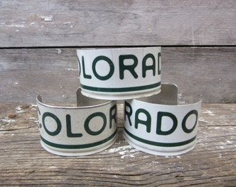 Vintage COLORADO License Plate Bangle Cuff Bracelet White & Green Mens Womens Industrial Vintage Steel Metal Distressed Jewelry Industrial