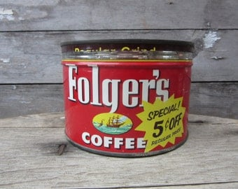 Vintage Tin Coffee Can Folgers Mountain Grown Red Kitchen Metal Tin Storage Display Country Farm Retro Kitchen Rustic Primitive Vtg Old