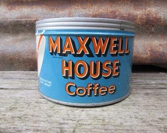 Vintage Tin Coffee Can Maxwell House Coffee Blue Orange Kitchen Metal Tin Storage Display Country Farm Retro Kitchen Rustic Primitive Old