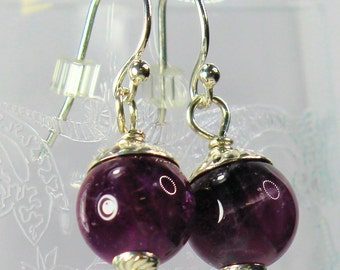 Peter Pan Acorn Kiss Earrings in Solid Sterling Silver and Natural Amethyst