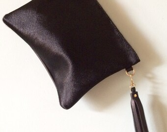 Cow hair and leather clutch, cowhair evening purse, cowhair bag, black leather clutch