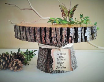 "10"" Rustic wedding cake stand - Personalized cake stand -  Rustic cake stand - Wood cake stand -  Rustic wedding"