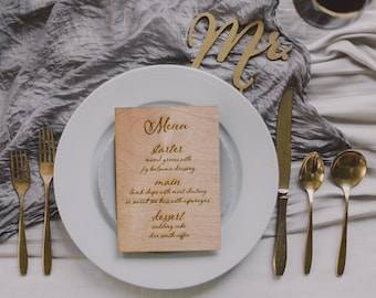 Real Wood Engraved Menu for Wedding or Special Event