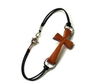 Sideways Cross Bracelet - Plus Size Bracelet - Cross Bracelet for Men - Wood Cross Bracelet - Plus Size Jewelry for Women - Pink Ivory Wood