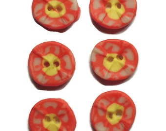 Polymer Clay Buttons Size 20mm Colorful White Yellow Pink Buttons Set of Two
