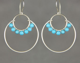 Sterling silver turquoise wiring double hoop earring handmade US freeshipping Anni Designs