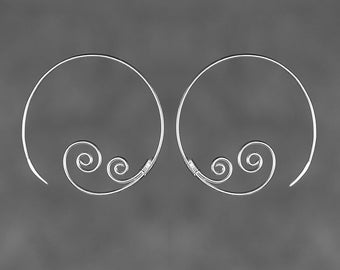 Sterling silver handwired double scroll hoop earring handmade US free shipping Anni Designs