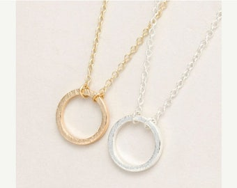 SALE spring clean 75% Gold Circle Necklace, Delicate Circle Necklace, Minimalist Circle Necklace, Circle Jewelry, Circle Bridesmaids Necklac