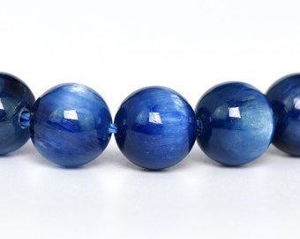 "8MM Blue Kyanite Beads Grade AAA Genuine Natural Gemstone Quarter Strand Round Loose Beads 4"" BULK LOT 1,3,5,10 and 50 (100305hf-284)"