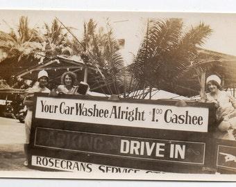 Hawaii Women With Car Wash Sign Vintage Snapshot Antique Photo Travel Souvenir Paper Ephemera Classic Auto Memorabilia