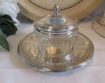 Vintage French silver plated serving glass dish, and plate.  Paris apartment, cottage chic.