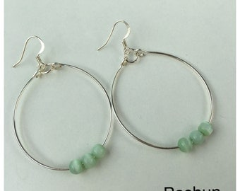 Seashell Jewelry ... Simple Mint Beads Hoop Earrings (1482)