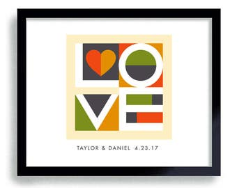 Love Decor Mid Century Modern Wedding Gift Abstract Art Print Heart Decor Engagement Gift Modern Wall Art Young Couple Contemporary Decor