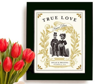 Unique Wedding Gift for Couples Tattoo Couple Unique Engagement Personalized Art Print Day of the Dead Anniversary Gift Skull Goth