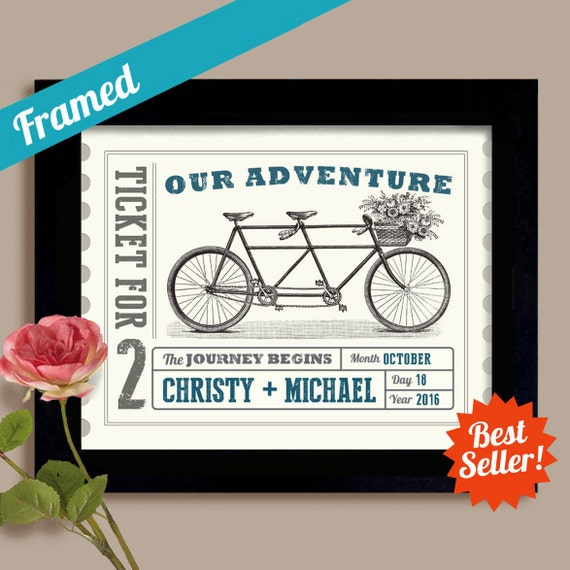 Wedding Gifts For Adventurous Couples : ... Gift Unique Engagement Gift Wedding Ticket Our Adventure Couples Gift