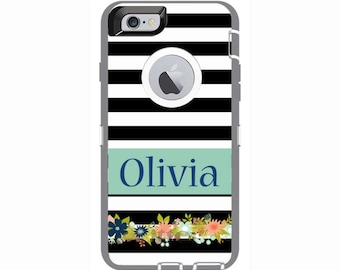 Personalized iPhone 6 & iPhone 6s Shabby Chic Stripes Otterbox Defender Phone Case | Custom Phone Cases
