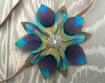 Peacock Feather Flower on elastic headband