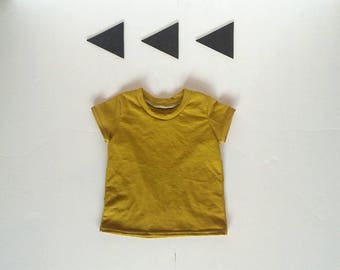 Basic mustard yellow tee t shirt sizes 3months- 7 years