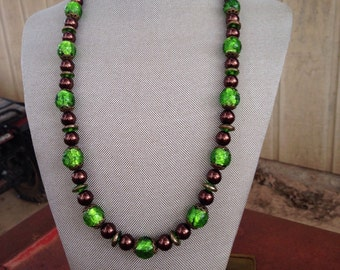 Chocolate & Lime Vintage Beaded Necklace