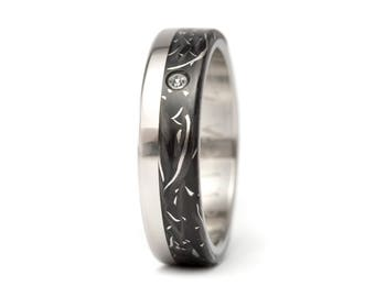 Women's titanium and carbon fiber ring with Swarovski. Unique black wedding band. Water resistant and hypoallergenic. (00332_5S)