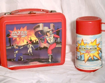 80s Lazer Tag lunch box - Vintage cartoon & game thermos - Worlds of Wonder
