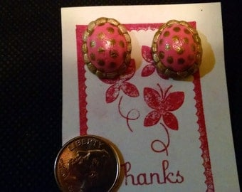 Hand-painted clay pink and gold earrings