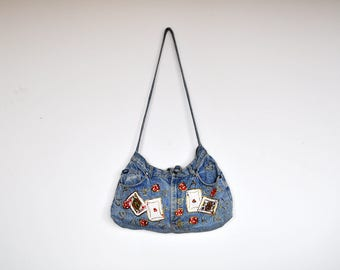 Vintage Unique Reconstructed Lee Jeans Playing Cards Patches and Gold Paint Shoulder Bag