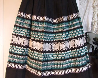 Vintage Embroidered Guatemalan full skirt in black with aqua and wht handiwork ala 1970s