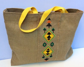 Tribal hand Embroidered Jute Tote Bag, completely handmade tote and cross-stitched with colorful tribal  pattern,  one of a kind
