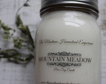MOUNTAIN MEADOW all natural soy candles mason jar candles handpoured green grass scent dew grass candles rustic candles Montana made candles