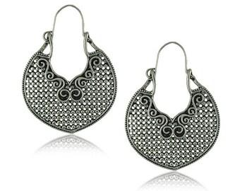 Pair of Handmade Antique Silver Mandala Earrings, Bohemian Earrings, Teardrop Earrings 40x52mm