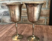 Pair of Silver Goblet Wine Glasses
