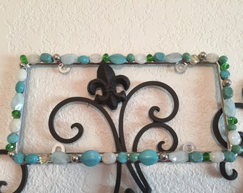 Bling  License Plate Frame - Turquoise Stone with Silver and Milky White Beaded #A263185212