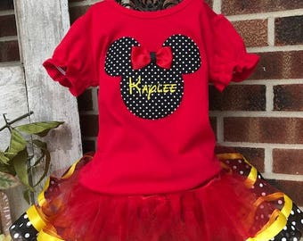 Minnie Mickey Disney Girl Boutique Birthday Outfit Tutu Shirt Hat Pink Dots First Second Third Sewn