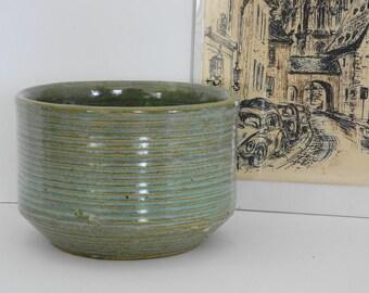 Zanesville Cyclindrical Homespun Stoneage Modern Planter- Aqua Green Glaze