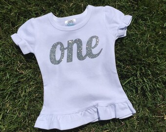 Short Sleeve Girls First Birthday Glitter One Shirt