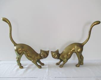 Extra Large Brass Cat Figurines (Pair) - Vintage Brass Cat's - Large Brass Cat's