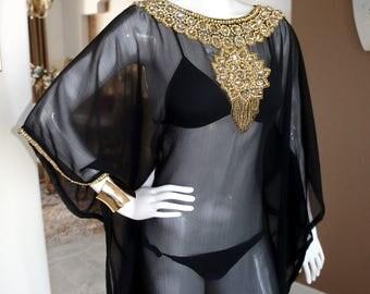 Noir and Gold Embellished Sheer Caftan