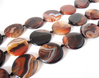 "Natural Banded Madagascar Agate Dyed 35mm Round Disc Beads - Full 16"" Strand  / Liquidation / Close Out Prices 1 - 3 Strands"