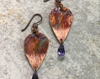 PURPLE RAINDROPS...crystals..teardrops..copper..bohemian..torched
