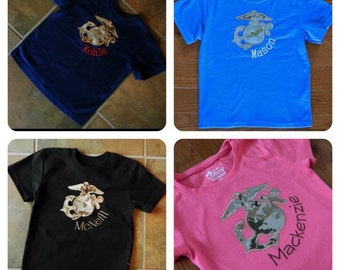Create Your Own Toddler USMC Short Sleeve Shirt with Camo EGA. Monogramming available.
